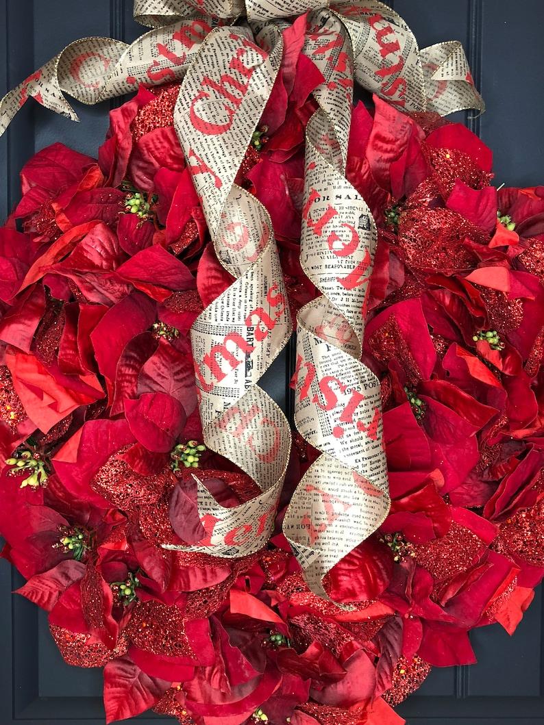 Pointsettia wreath,christmas wreath,pointsettia flowers,pointsettia decor,pointsettia ornament,pointsettia decoration,holiday decor,xmas bow