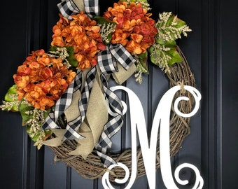 Fall wreath , Wreaths , Front Door Wreath for Fall , Wreath , Hydrangea Wreath, Housewarming Gift , Summer Decor , home decor