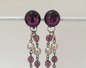 Original 1990s Erickson Beamon style clip on evening drop earrings