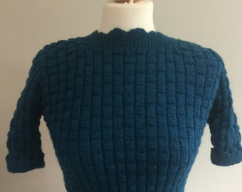 Hand knitted sweater from a 1940s pattern