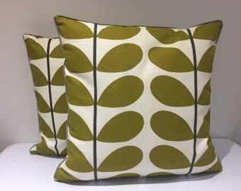 Square  piped cushion/pillow cover - retro fabric  - Mid Century