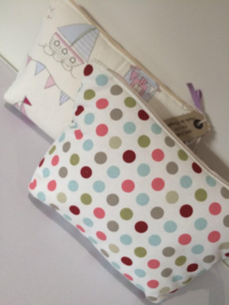 Seaside scene / multi coloured polka dot make up purse  image 0