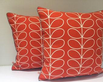 Square  piped cushion/pillow cover - made in Retro fabric  - Tomato Colour