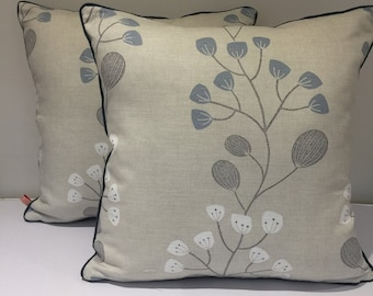 Square piped cushion/pillow cover -  John Lewis Seedlings -  blue grey and white