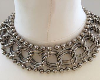 Original 1980s chunky collar necklace and bracelet set