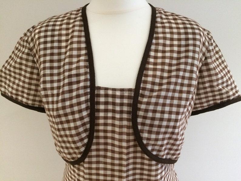 1950s/1960s Brown Gingham Shift Dress and Bolero  Medium Size image 0