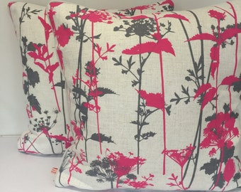 Cushion/pillow cover - Clarrisa Hulce  fabric in magenta/grey/neutral colour