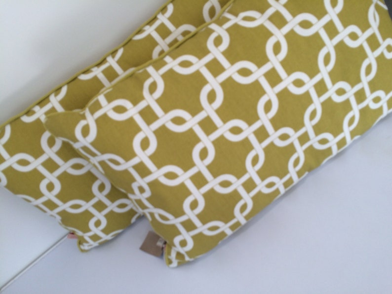 Chartreuse and white large chain link design oblong cushion image 0