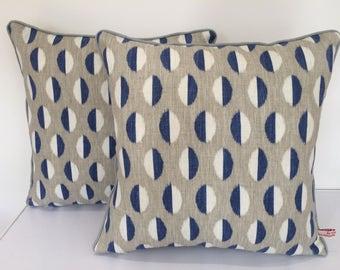Retro print linen cotton cushion pillow cover - Sandersons  - Eclipse  - Blue Grey White
