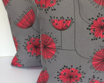 Square piped cushion/pillow cover - made in MissPrint Dandelion fabric - mid century
