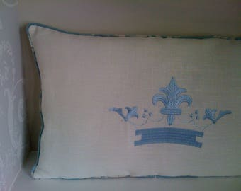 Ecru piped linen embroidered cushion pillow cover