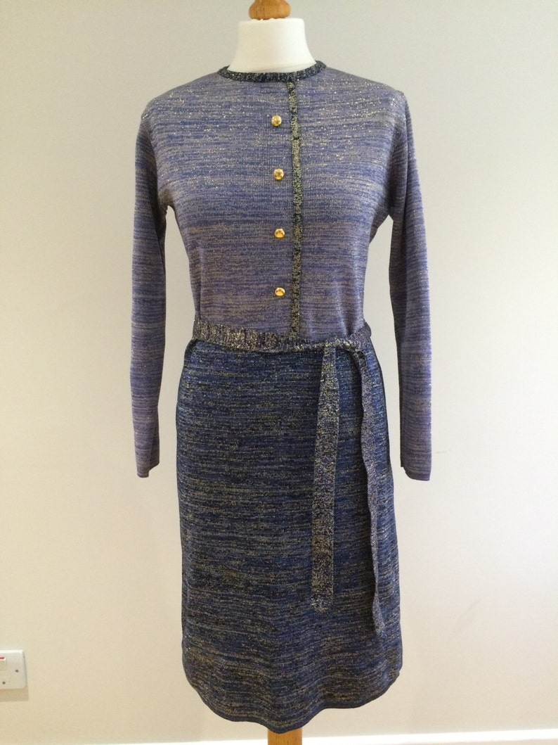 1960s Two Tone Tricel knitted dress image 0