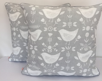 Square piped cushion/pillow cover  - Skandi print - grey and white