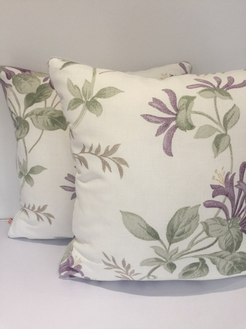 Square piped cushion/pillow cover   Laura Ashley Honeysuckle image 0