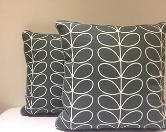Square cushion/pillow cover - made in Orla Kiely Linear Stem in Steel Colour