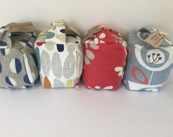 Fabric Doorstop  - Grey Blue and White, Multi, Red White and Grey, Retro Blue White and Orange