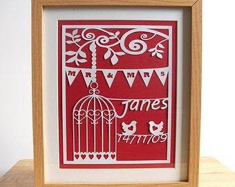 Wedding Gifts 2017, Wedding Gift, Wedding Gifts for Couples, 1st Anniversary Gift, Lovebird Wedding Gift, Birdcage Wedding Gift, Papercut