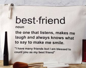 Best Friend Birthday Gift, Best Friend Toiletry Bag, Best Friend Gift Bag, Friend Definition Quote, Friend Definition Gift, Best Friend Gift
