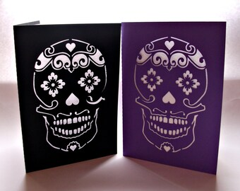 Sugar Skull Card, Day of the Dead Card, Tattoo Card, Rockabilly Card, Rockabilly Wedding Card, Paper Cut Card, Choose Your Colours