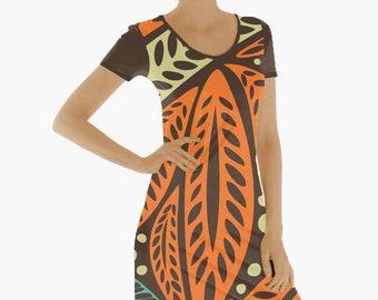256565350a91 Hawaiian Tribal Short Sleeve Maxi Dress, Orange Blue Polynesian Long Dresses  for Women