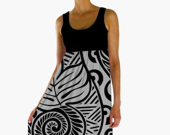 f9f91e2010e5 Hawaiian dress ulu - Polynesian dress - Black gray empire waist dress