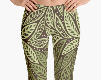 Green Brown Hawaiian Polynesian Tribal Floral Yoga Workout Leggings for Women
