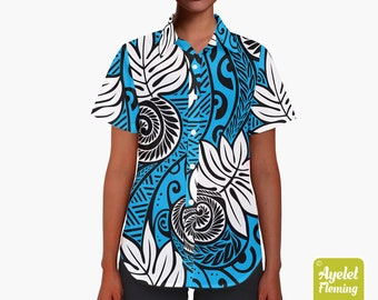 f02f767f6b22 Hawaiian shirt women ulu - Polynesian shirt - Black blue white womens  button up shirt