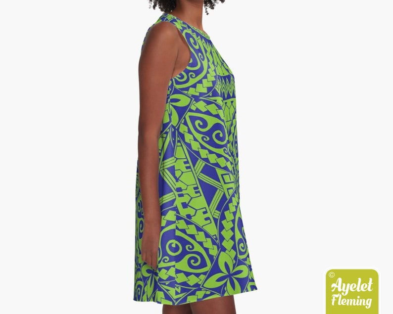 Polynesian dress Hawaiian dress women Blue green tiki dress XS-2XL
