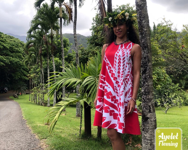 Hawaiian dress women  Polynesian dress  red white bird of image 0
