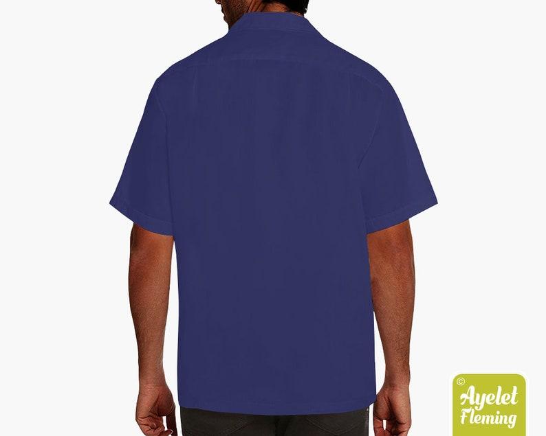 Polynesian shirt Half navy blue gray floral bowling shirt S-5XL Hawaiian shirt men