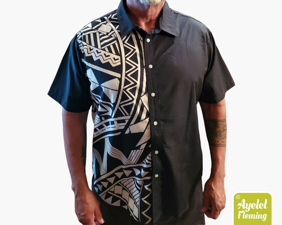 Polynesian shirt Half black and white button up shirt men Samoan Clothing Hawaiian shirt men