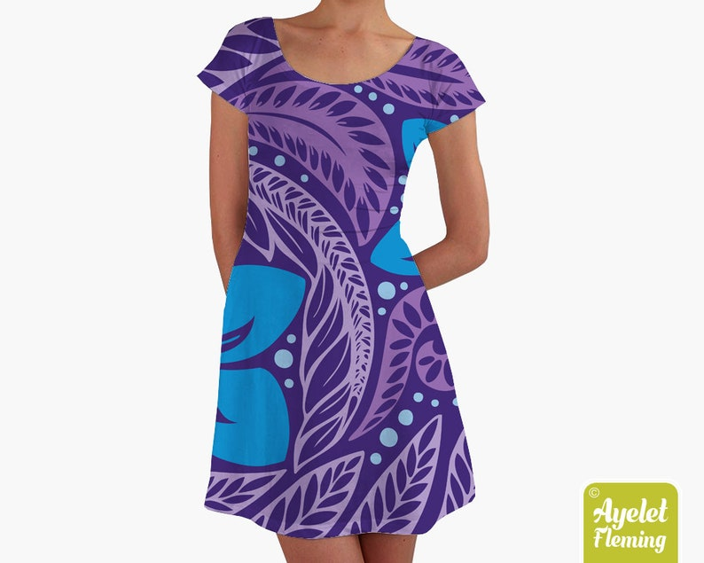 Hawaiian dress women  Polynesian dress  Purple blue floral image 0