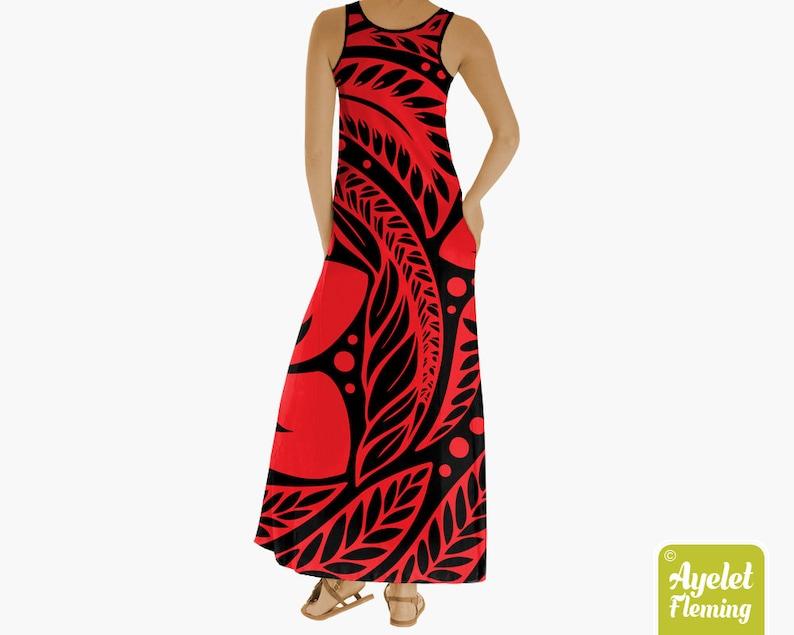 Hawaiian dress Polynesian dress Red cotton dress Tropical maxi dress XS-5XL
