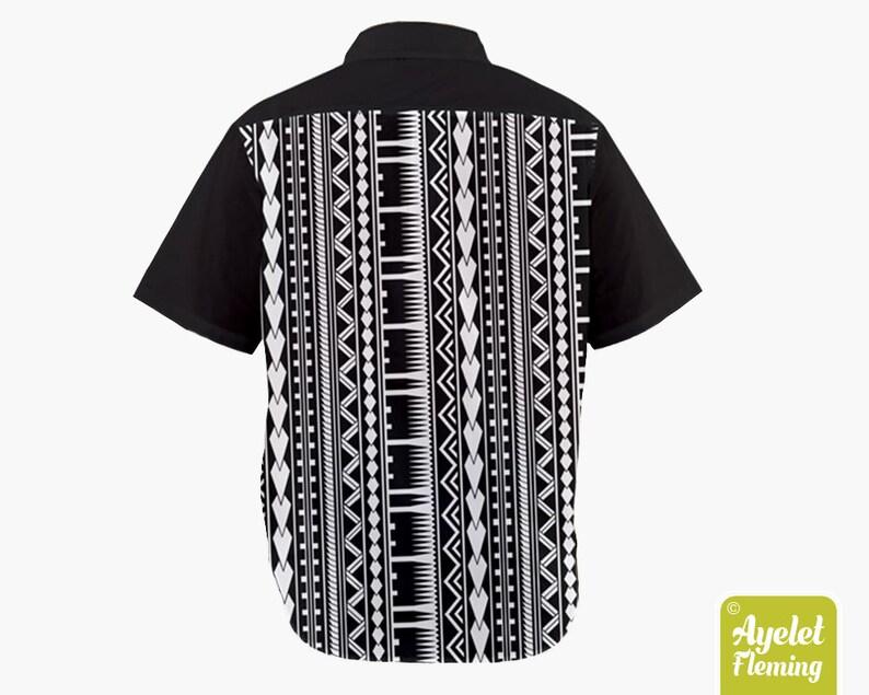 Hawaiian shirt men Polynesian shirt Half black white button up shirt men Samoan