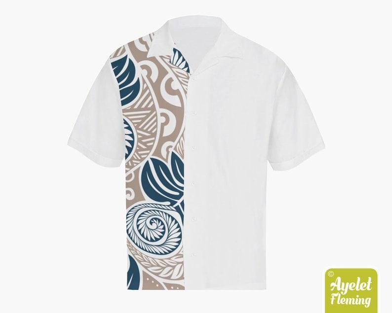 Samoan shirt Polynesian shirt Half light brown blue white ulu floral bowling shirt S-5XL Hawaiian shirt men