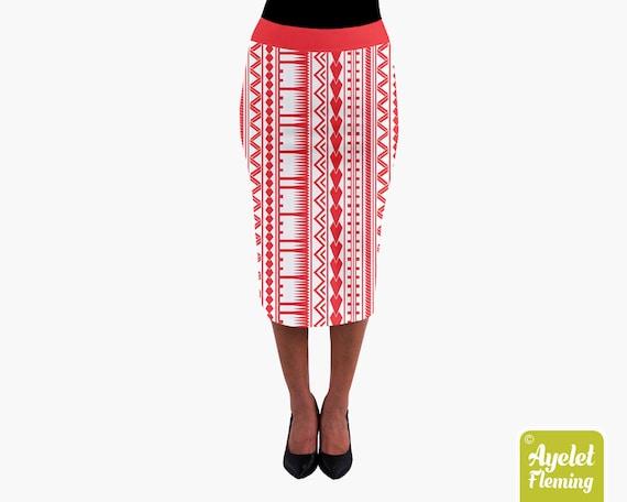 Black white floral midi skirt XS-3XL Polynesian skirt Hawaiian skirt ulu