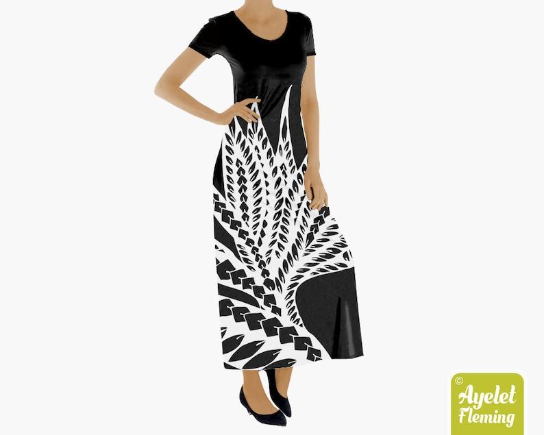 d18a6e07f179 Hawaiian dress Polynesian dress Muumuu dress Black white | Etsy