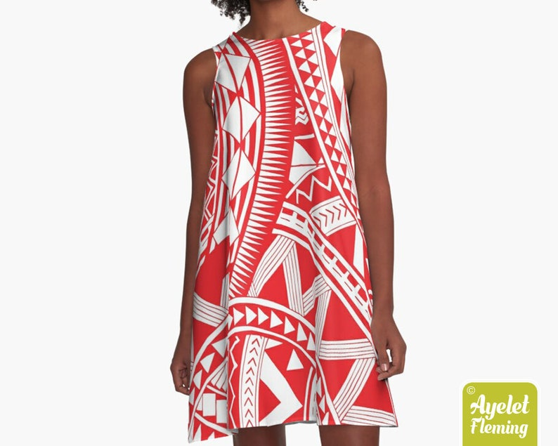 Red white tiki dress Hawaiian dress women Size XXS-4XL Polynesian dress Samoan