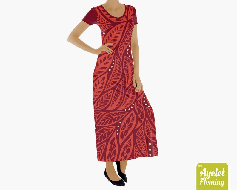 61de9b1e9f1 Hawaiian muumuu floral maxi dress red polynesian short sleeve etsy jpg  794x635 Muumuu dresses red
