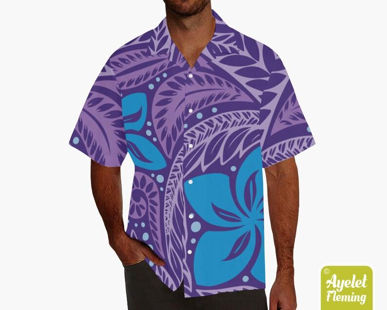 Hawaiian shirt men  Polynesian shirt  Samoan shirt  Purple image 0