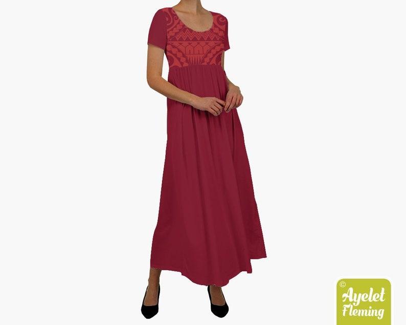 23c3bb4b154aa Polynesian dress Hawaiian dress Red cotton dress Muumuu | Etsy