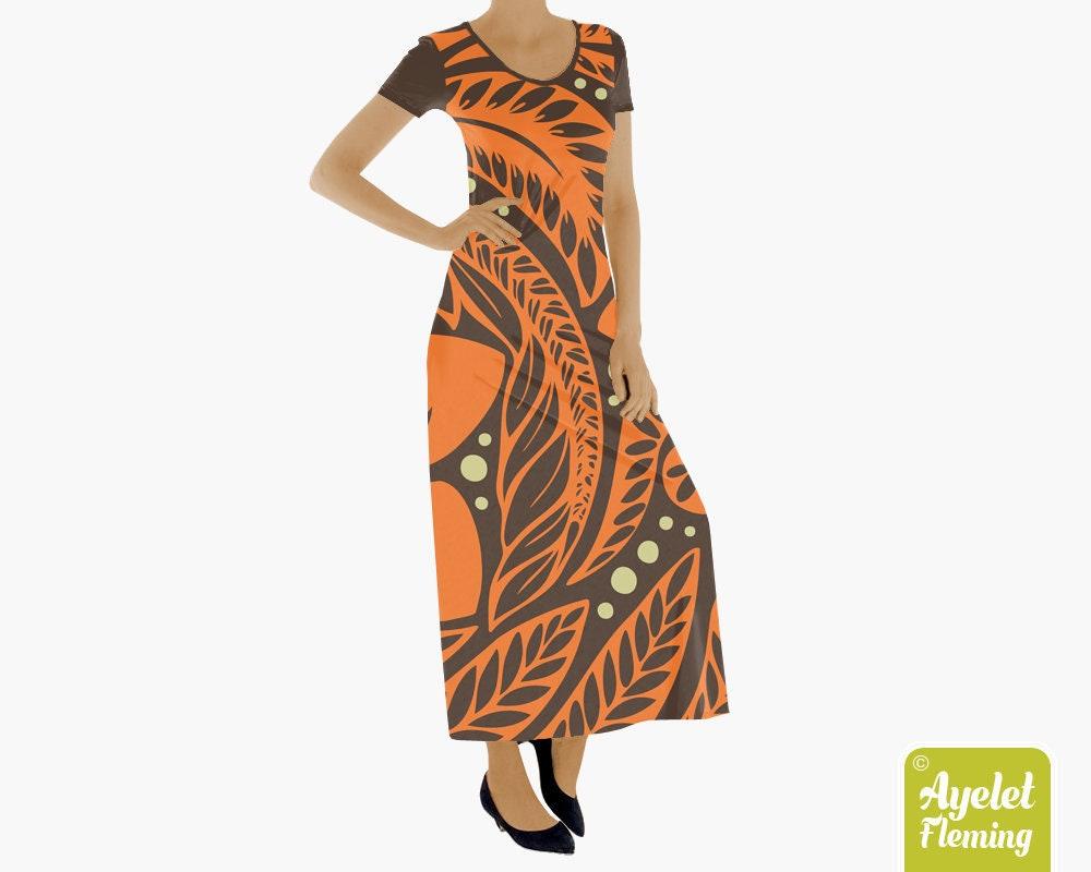 58900781d6a8 Hawaiian dress Polynesian dress Orange on brown floral | Etsy