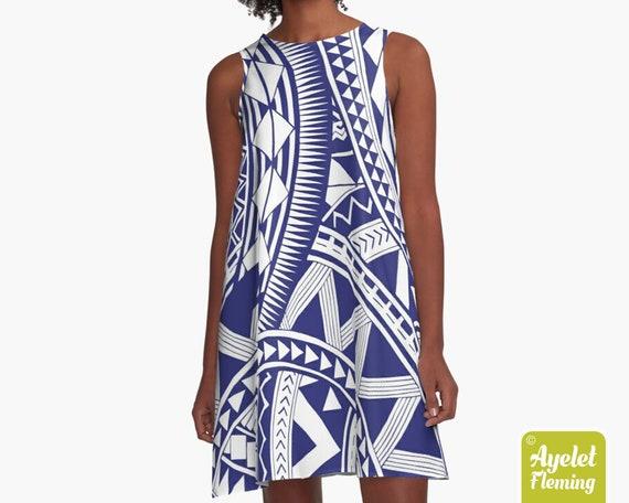 Size XXS-4XL Polynesian dress Hawaiian dress women Samoan blue purple tiki dress