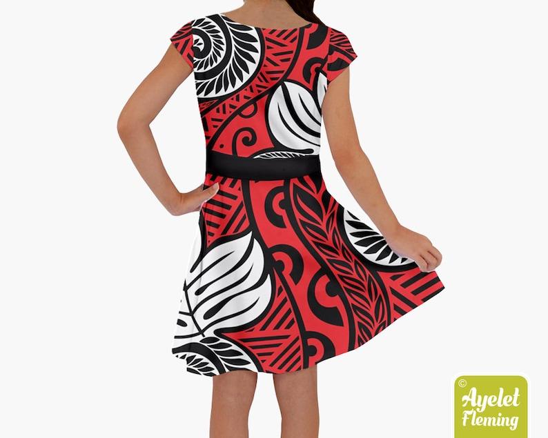Girls hawaiian dress ulu Black red white short sleeve Samoan dress Polynesian dress