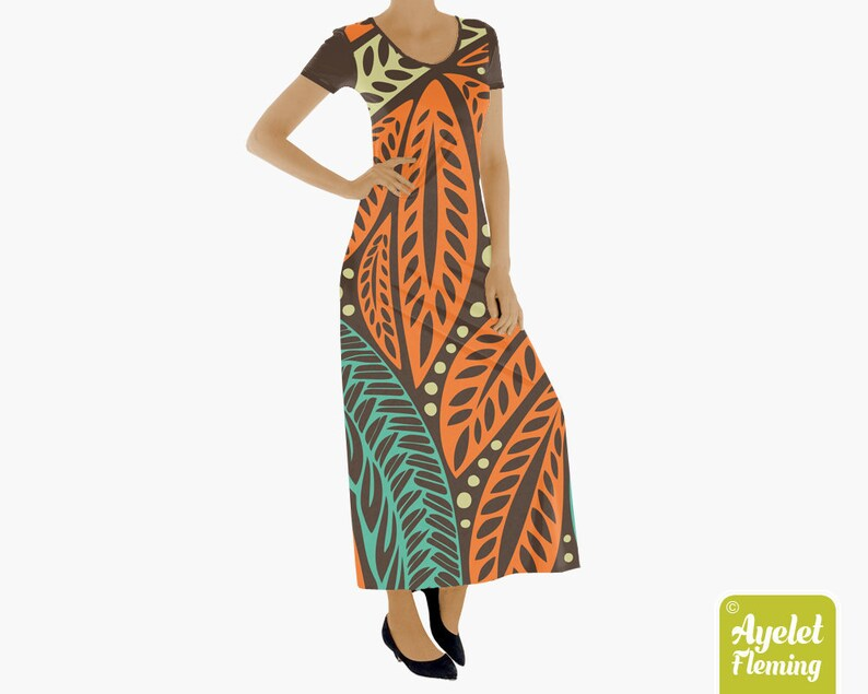 c9c463bec72c Hawaiian Tribal Short Sleeve Maxi Dress Orange Blue | Etsy