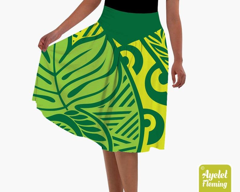 Hawaiian skirt ulu Polynesian skirt XS-5XL Shades of green floral ulu flared midi skirt