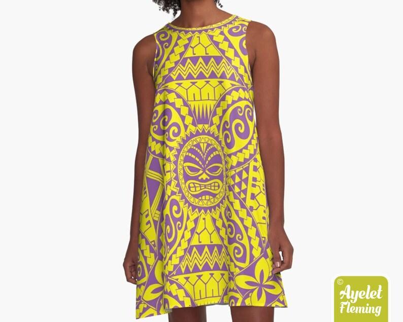 Polynesian dress  Hawaiian dress women  Purple yellow tiki image 0