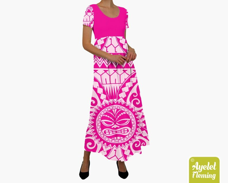 Polynesian dress  Hawaiian dress  Pink cotton maxi dress  image 0
