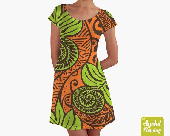 Brown green racerback dress Hawaiian dress Size XS-5XL Polynesian dress