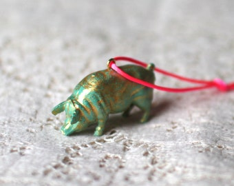 Upcycled christmas tree decoration, pig, green and gold, Recycled, Festive decoration, Tree ornament, repurposed.